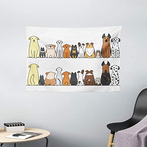 Ambesonne Dog Tapestry, Multicultural Dog Family in a Row from Back and Front Views Companionship Comic Art, Wide Wall Hanging for Bedroom Living Room Dorm, 60 X 40 , Yellow Brown