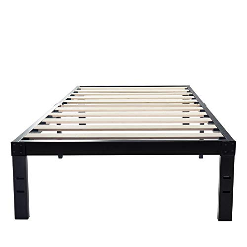 Homdock 14 Inch Metal Platform Bed Frame Solid Strong Wood Slat Noise Free 3500 Lbs Heavy Duty Mattress Foundation No Box Spring Needed Black Finish Twin Xl