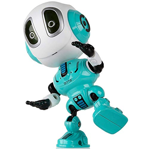 Viedoct Kids Voice Changer Recording Smart Robot Toys, 360 Rotating with Lights & Music,Best Early Educational Development Gift, Christmas Year and Birthday Gift (Blue)