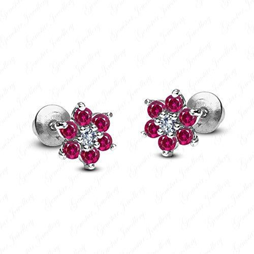 (Gemstar Jewellery 18K White Gold Finish Round Cut Red Ruby Wedding Cluster Flower Stud Earrings)