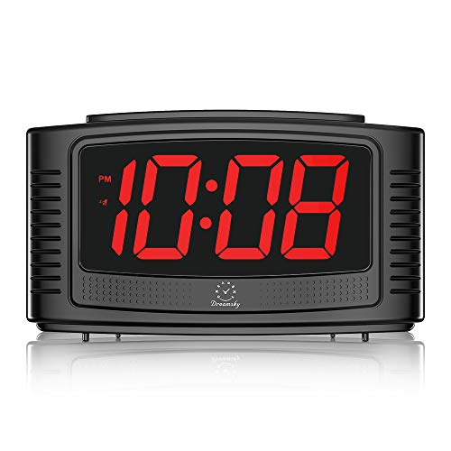 "DreamSky Little Digital Alarm Clock with Snooze, 1.2"" Clear Led Digit Display with Dimmer, Simple to Operate, Plug in Clock for Bedroom. (Black+red)"