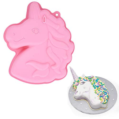 MoldFun Unicorn Cake Pan, BPA Free and Non-Stick Pony Horse Head Silicone Baking Tray Mold for Girls Unicorn Birthday Party Bakeware Supplies Utensils Tools (Cake Mold Pan Horse)