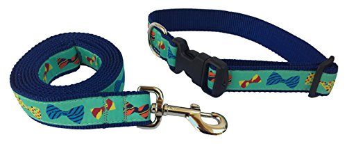 Preston Bow Ties - Conjunto de Collar y Correa para Perro, diseño de Corbata Multicolor en Cinta Verde con Correa de Nailon...