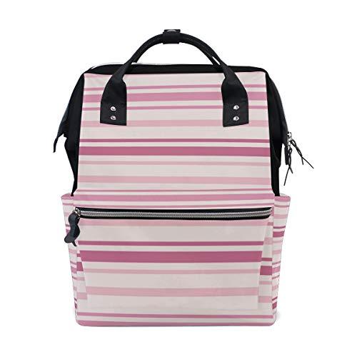 FAJRO Pink Series Stripe PatternTravel Backpack Canvas Handbag School Pack