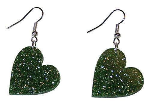 Heart Dangle Earrings - Glitter Drop Style - Hypoallergenic Silver