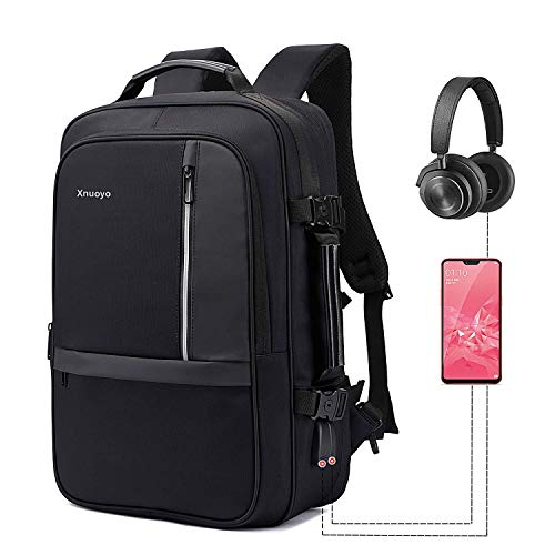 Xnuoyo 17.3 Inch Anti-Theft Convertible Laptop Backpack Briefcase, 8cm Expandable TSA Friendly School Rucksack Water-Resistant Backpack with USB Charging Port & Headphone Hole for Women, Men-Black ()