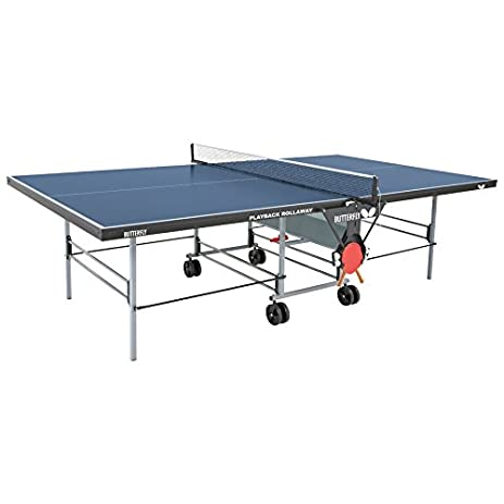 Charming Butterfly TR26B Playback Rollaway Table Tennis Table (Blue)