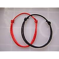 Nattypat 2pcs Simple Unisex Red&Black Kabbalah String Lucky Handmade Bracelet Adjustable