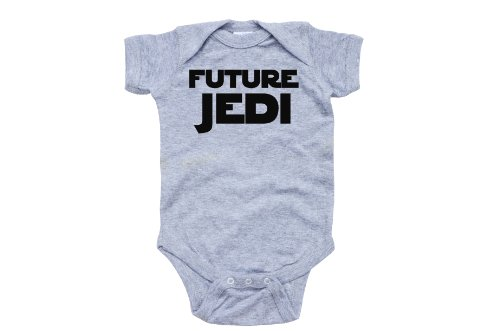 Apericots Adorable Future Jedi Soft and Comfy Cute Baby Short Sleeve Cotton Infant Bodysuit (6 Months, Heather -
