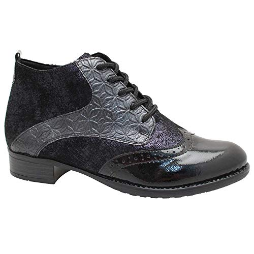 Women's Remonte Blue Detailed Flat Duo Closure Ankle Boot Blue Combi