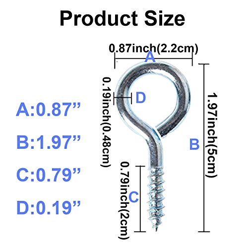 XeeDoo Eye Hooks,(10 Pack) Screw in Heavy Duty with Hitching Metal Ring Threaded for Hanging Hammock Crafts Ceiling DIY Pins Kit Outdoor Indoor Use Silver