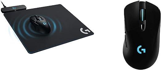 Logitech G Powerplay Wireless Charging System - Black & 703 Lightspeed Wireless Gaming Mouse W/Hero 25K Sensor, PowerPlay Compatible, Lightsync RGB, Lightweight 95G+10G Optional, 100-25 - Black