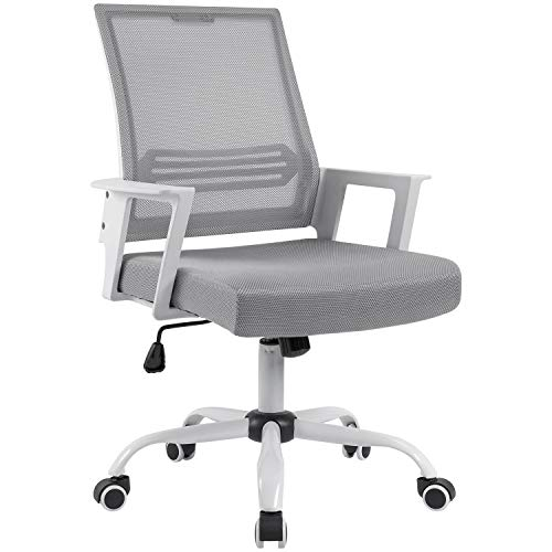 (Devoko Office Chair Ergonomic Mid Back Swivel Mesh Desk Chair Height Adjustable Lumbar Support Computer Chair with Armrest (White) )
