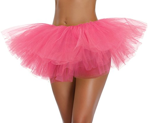 v28 Women's Teen Adult Classic 5 Layered Full Tulle Tutu Skirt (One Size, Peach 5Layer) ()
