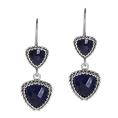 925 Sterling Silver Handmade Triangle Dangle Sapphire Earrings