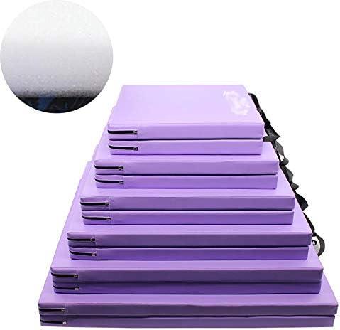 スポーツマット ストレッチマット PU 腹筋運動 プラス厚い 学生 エクササイズマット 折り畳み可能 防水 引き裂き防止、 2つの厚さ、 11色 GUORRUI (Color : Purple, Size : 2-Panel-80x160x5cm)