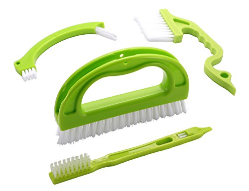 Deep Easy Track - Yamlion Tile Brushes (4 in 1) Grout Cleaner Brush with Nylon Bristles for Bathroom Kitchen Shower Window Track Groove Gap Joint Deep Cleaning