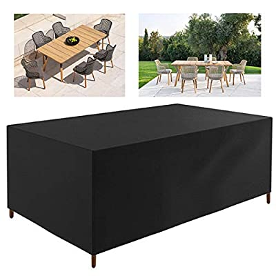 JJCKHE Rectangular Patio Furniture Cover, Outdoor Table and Chair Cover, Waterproof Garden Furniture Set Cover,Tear-Resistant, UV Resistant Cuboid Protective Cover, Black