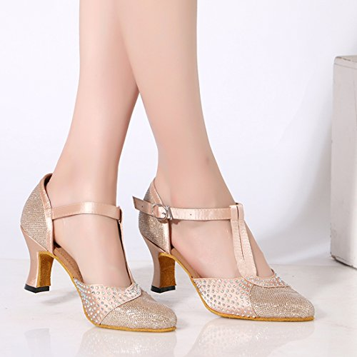 Beige Strap Shoes Closed Rhinestones Joymod Toe T Prom Modern Pumps Dance Formal MGM Latin Party Tango Comfort Salsa Rumba Wedding 7cm Glitter Women's Satin Heel Samba Ballroom dzSYUUxqn