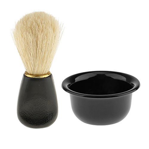 Dovewill Professional Black Plastic Bathroom Shaving Soap Cream Mug Bowl Salon Barber Men Beard Cup Shave Brush Tool Kit Set