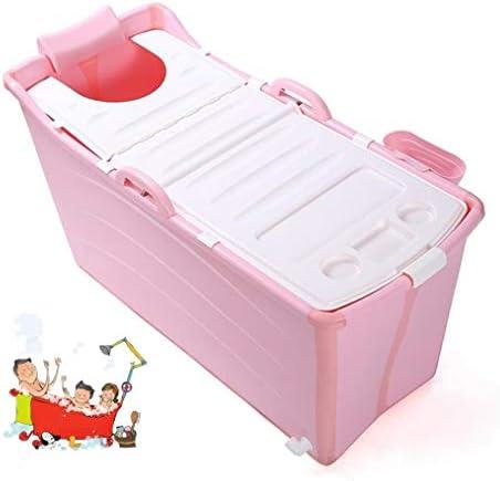 折りたたみバスタブ GYF 大人の折りたたみ式バスタブの厚さ 断熱カバー付き子供用ベビー折りたたみ式バスタブ 大きなスペース 2色バスタブ幼児 (Color : Pink)
