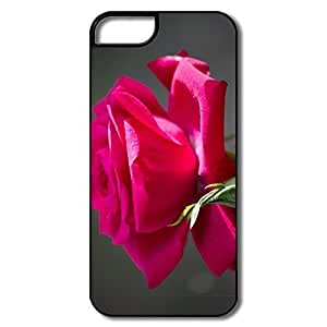 IPhone 5S Case, Red Rose Cases For IPhone 5 - White/black Hard Plastic