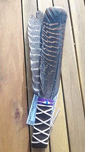 "Medium 12"" Spiritual Smudging Feather, Wild Turkey Wing and Tail Feather. With Sample Loose Smudge With Sage and Sweetgrass. Healing, Purifying, Meditating, Incense & Cleansing."