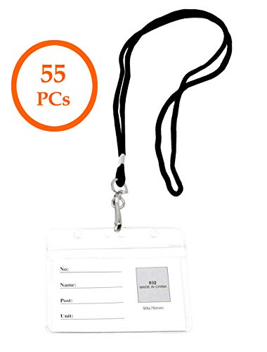 (Mandala Crafts Lanyard with ID Holder from Clear Plastic for Cruise Ship Cards, Nurse Badges, Name Tags, Pictures, Teacher Passes, Keys, Tickets (4 X 3 Inches, Horizontal, 55 PCs Bulk)