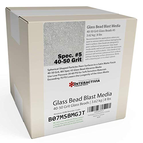 #5 Glass Beads - 8 lb or 3.6 kg - Blasting Abrasive Media (Coarse to Medium) 40-50 Mesh or Grit - Spec No 5 for Blast Cabinets Or Sand Blasting Guns - Large Beads for Peening and Finishing