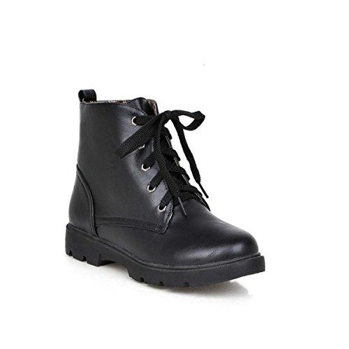 Neue Damen Damen Flache Faux Slouch Stiefeletten Schuhe Gummi Lace-Up Black