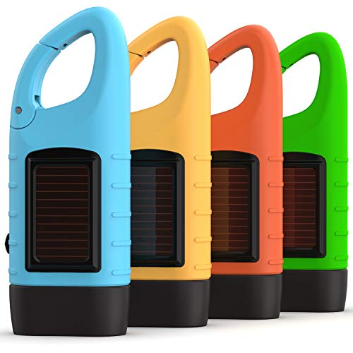 Rechargeable Flashlights (3-Pack) with Solar Power & Hand Crank +