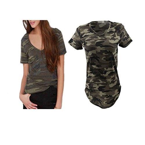 74d8e4dfca183 Femmes Blouse Casual Col-V Tops T-shirt à Manches Courtes Motif Camouflage  Militaire - Vert Armée, XL: Amazon.fr: Vêtements et accessoires