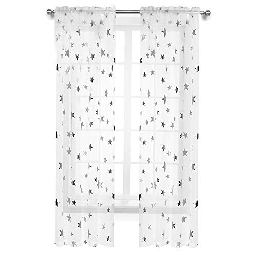 Anjee Girls Bedroom Curtain for Starry Night Twinkle Voile Sheer Curtains, 2 Panels Rod Pocket Silver Star Print Curtain Panels Draperies Perfect for Kids/Nursery, W54 x L84 Inches (Panels Sheer Curtain Print)