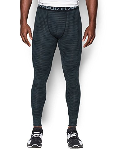 Under Armour Men's HeatGear Armour Printed Compression Leggings, Black/Steel, Small by Under Armour (Image #2)
