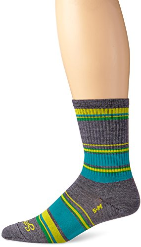 Sock Guy Wool Bike Sock - SockGuy Men's River Socks, Gray, Sock Size:10-13/Shoe Size: 6-12
