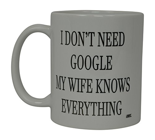 Funny Coffee Mug Wife Knows Everything Husband Novelty Cup Wife Gift Idea For Married Couple Spouse (Google)