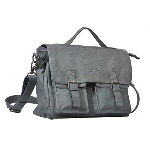 """Vilenca """"40714 Grigio"""" messenger bag in pelle con tracolla regolabile colore naturale, Dimensioni-(L40cmxH31cmxB11cm).."""