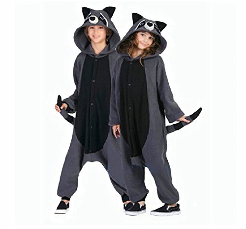 WOTOGOLD Animal Cosplay Costume Racoon Unisex Adult Pajamas, Gray, Small