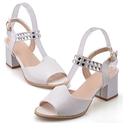 LongFengMa Women Sexy Dress Sandals Square Heeled with Rhinestone Strap White 3UK9M