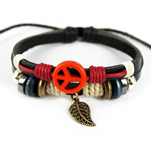 Real Spark Leather Friendship Gift Wristbang Leaf Pendant Beaded Ajustable Wrap Bracelet (Sending Flowers Meaning)