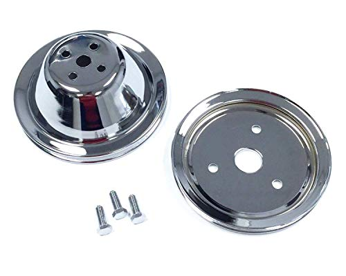(Pirate Mfg SB Chevy Short Water Pump Chrome Steel 1 Groove Pulley Kit 283 327 350)
