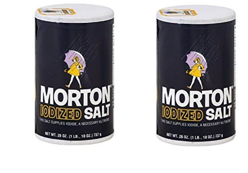 Iodized Salt - Morton Iodized Salt, 26 oz, Pack of 2