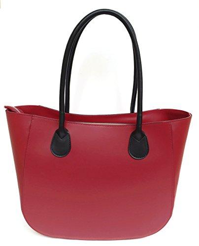 Superflybags Borsa A Spalla In Vera Pelle modello Olga XL Made In Italy Con Manico Tondo rosso / nero
