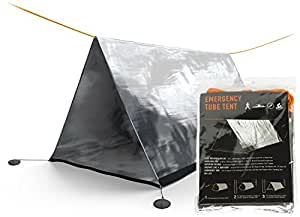 SURVIVOR X Emergency Shelter Tube Tent - Paracord 550 (Military Grade) Suspension - Super Lightweight Space Blanket Material to Reflect & Retain 99% Body Heat - Integral Part of a Zombie Survival Kit