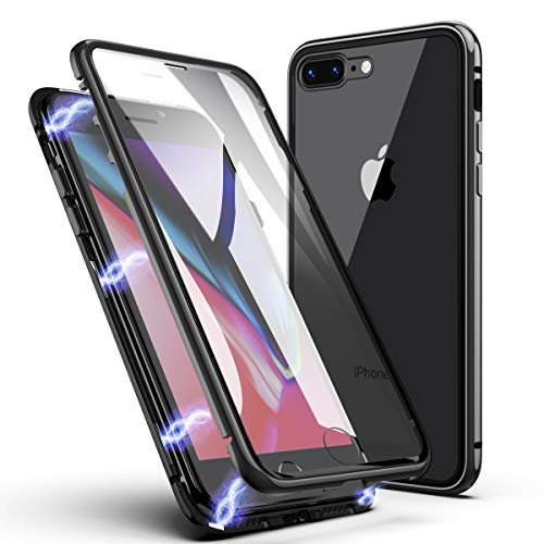 iPhone 7 Plus Case, iPhone 8 Plus Case, ZHIKE Magnetic Adsorption Case Front and Back Tempered Glass Full Screen Coverage One-Piece Design Flip Cover for Apple iPhone 7 Plus/8 Plus (Clear Black)