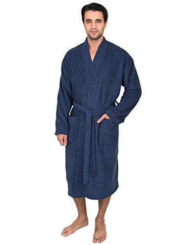 TowelSelections Men's Robe, Turkish Cotton Terry Kimono Bathrobe Large/X-Large Twilight Blue