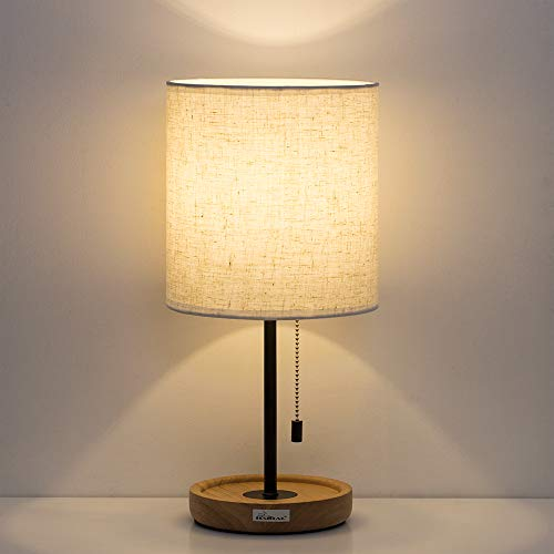 (HAITRAL Bedside Table Lamp - Modern Nightstand Lamp with Linen Fabric Shade Wooden Desk Lamps for Bedrooms, Office, College Dorm, Dinning Room, Girls Room - 16 Inches (HT-AD005))