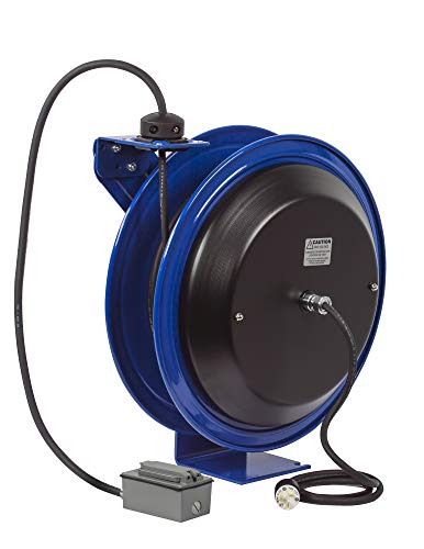 Reel Spring Rewind (Coxreels PC19-7516-F Power Cord Spring Rewind Reels: Duplex Industrial Receptacle, 75' cord, 16 AWG)