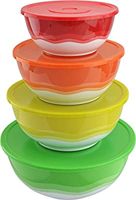 Surpahs Superior Nested Mixing & Prep Bowl Set of 4 Bowls w/ Color Matched Complementary Lids [Improved]