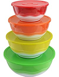 Want Surpahs Superior Nested Mixing & Prep Bowl Set of 4 Bowls w/ Color Matched Complementary Lids [Improved] discount
